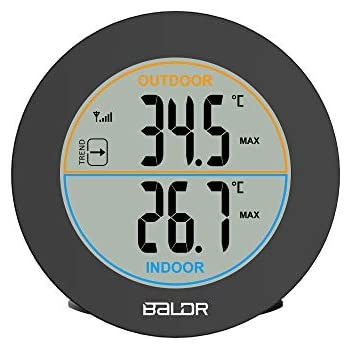 BALDR Wireless Indoor/Outdoor Thermometer Table Wall Temperature Monitor Meter with Max/Min Records, Trend Arrows,Black