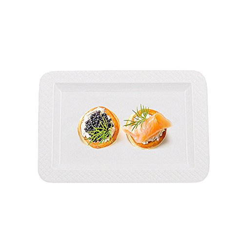 Pedestal Plate Serving (Party Bargains White Disposable Plates | Rectangular Hard Plastic Salad & Dessert Plate Perfect for Catering Events, Restaurant and Takeout - Size 5 X 7 | Pack of 80)