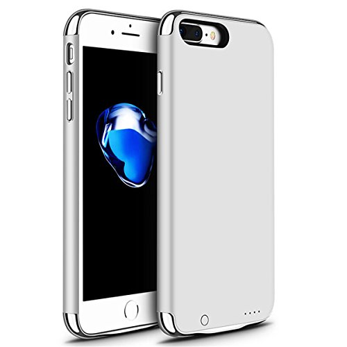 iPhone 6/6s/7 Plus Battery Case, GIZEE Ultra Slim 3 In 1 Metal Textured 4000 mAh Portable Protective Charging Case for Apple iPhone 6 Plus/ iPhone 6S Plus/ iPhone 7 Plus 5.5 Inch - Silver