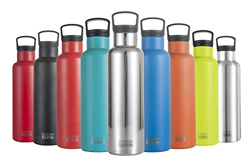 Bottlebottle Insulated Water Bottle - No Sweat Stainless Steel Bottle with Handle for Running Cycling - BPA Free Powder Coated Sports Water Flask, 21oz, Mirrored Stainless (Bicycle Stainless Steel Water Bottles)