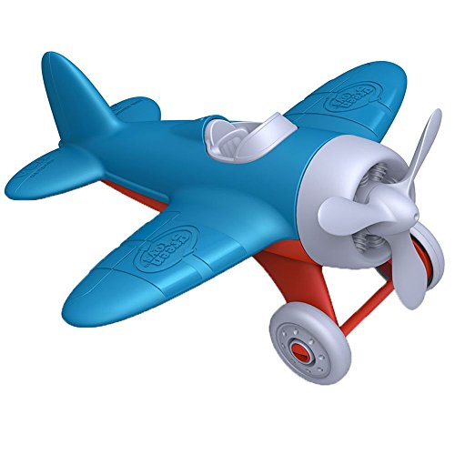 Green Toys Airplane - BPA, Phthalates Free, Blue Air Transport Toy for Introducing Aeronautical Knowledge, Improving Grasping Power. Toy - Pacifier Airplane