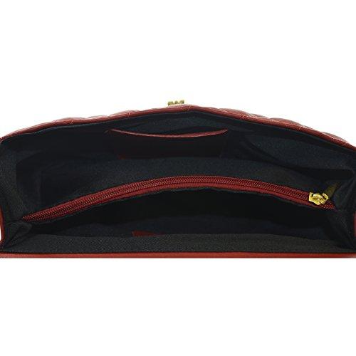 véritable in la corps cross sac matelassé en cuir 27x17x9 Rouge D6078 made Cm Élégant Italy de CTM femme q7f8n