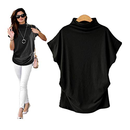 COOKI Women Shirts Turtleneck Short Sleeve Cotton Blouse T Shirt Casual Loose Tunic Tops Black Black Turtleneck Short Sleeve Dress