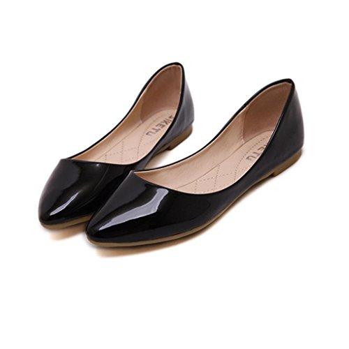 Botines Casual Tefamore de de Mujer negro Elegante Zapatos de Mocasines XSBHpSqa