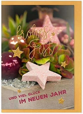 Christmas CardGolden Fest Motif Pink Stars/Happy Festival