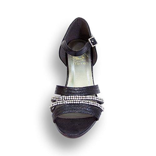 mujeres anchura baile FIC Zapatos para Zapato y Eryn vestir de de anchos FLORAL de negro cena las la bodas qYwYnWzZx