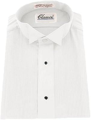 Mens Wing Collar 1//8 Pleats Formal Tuxedo Shirt