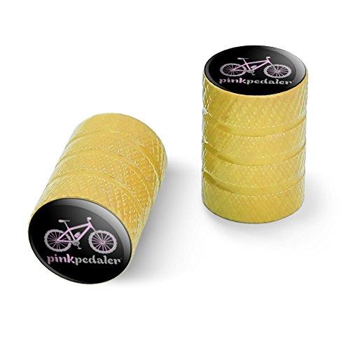 オートバイ自転車バイクタイヤリムホイールアルミバルブステムキャップ - イエローピンクペダルマウンテンバイク自転車ロゴ