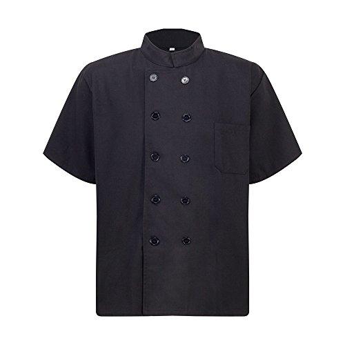 KUAYING Chef Jacket Unisex Short Sleeve Chef Coat (Black)