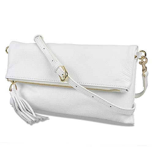 Leather White Bag - Befen Women's Leather Wristlet Clutch Phone Wallet Small Crossbody Purses and Hangbag with Card Slots (Large Crossbody White)
