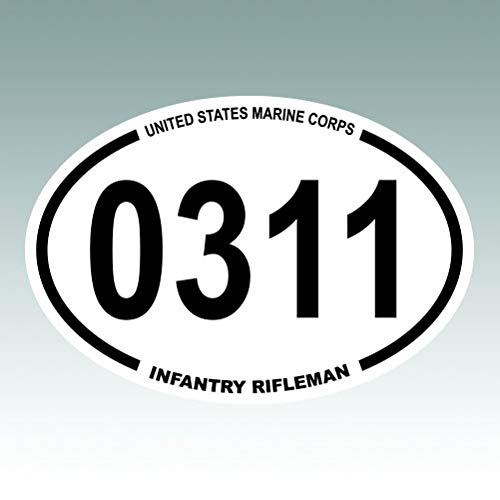 RDW United States Marine Corps MOS 0311 Infantry Rifleman Oval - Color Sticker - Decal - Die Cut - Size: 5.00