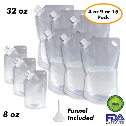 Cruise Ship Flask Kit - Reusable & Concealable Liquor Bags - Sneak or Smuggle Booze & Alcohol (6x32oz + 3x8oz + Funnel Included) ()