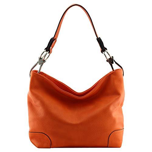 "Vegan Faux Leather Bucket Shoulder Handbag Classic Purse""Medium-large"" (Orange)"