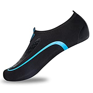 L-RUN Mens Aqua Sock Wave Water Shoes Slip On Active Footwear Sky Blue L(W:8.5-9,M:6-6.5)