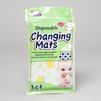 Baby Changing Mats - Disposable 3 Count (Pack Of 24) by DDI