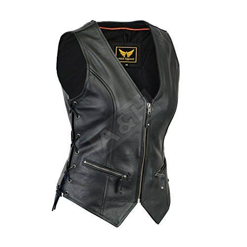 A&H Apparel Women Motorcycle Biker Classic Vest Genuine Cowhide Leather Vest With Gun Pocket (Large)