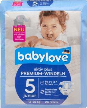 babylove pañales Premium activo Plus Tamaño 5, junior 12 – 25 Kg, ...