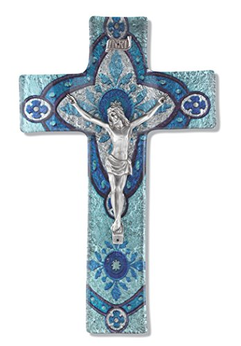 Glass Cross Crucifix With LIGHT AQUA GLASS CROSS WITH PEWTER CORPUS10