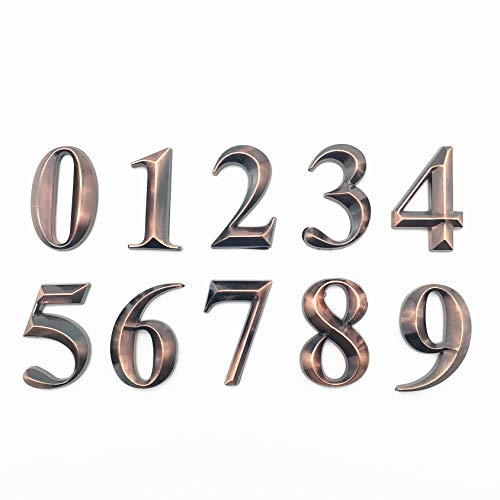 10 Pack Self Stick House Numbers Door Address Sign Stickers for Mailbox Apartment Hotel Condo Bronze 2 inch High (10 Pack 0-9 2