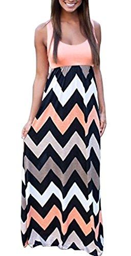 A-line Summer Beach Sleeveless Casual Striped Maxi Long Dress (S, Color-9) ()
