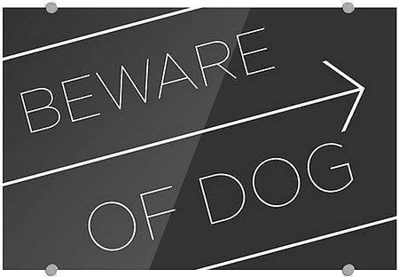 """""""Beware of Dog -Basic Black"""" White Aluminum Sign with inc..."""