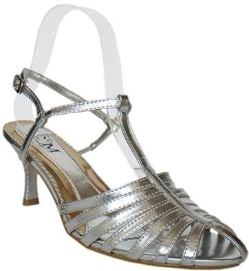 m Sandalette Stilvolle c Gr Paris abendschuhe 40 Silber lJTFKc1
