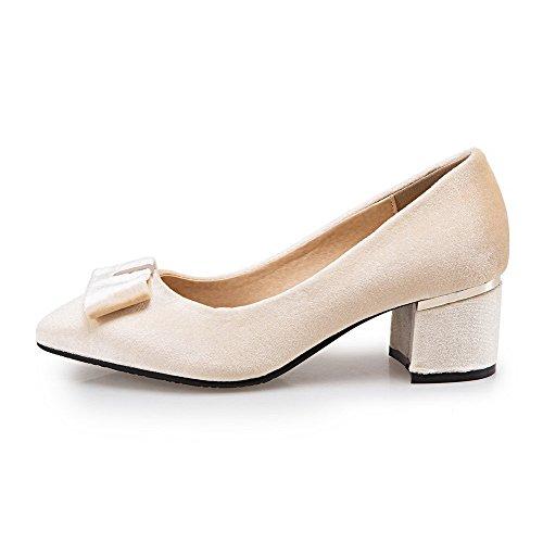 VogueZone009 Damen Mittler Absatz Eingelegt Ziehen auf Quadratisch Zehe Pumps Schuhe, Weiß, 36