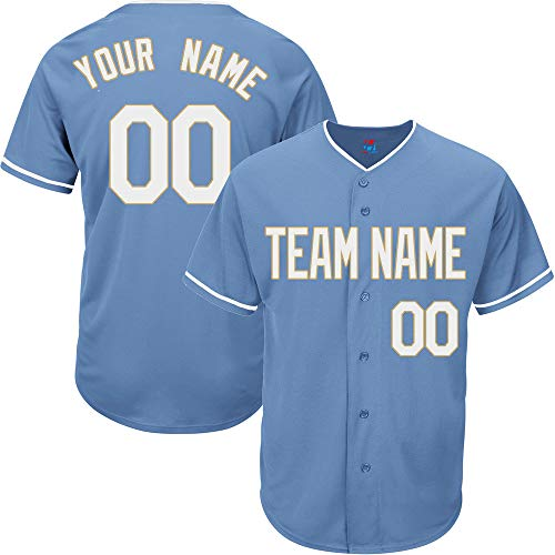 - Pullonsy Light Blue Customized Baseball Jersey for Men Practice Embroidered Team Name & Numbers,White-Gold Size M