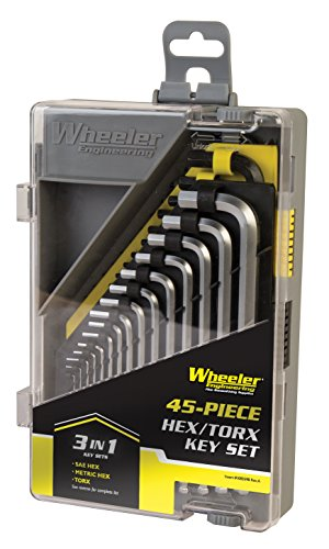 Wheeler 45 Piece SAE/Metric Hex and Torx Key Set for Pistol Rifle Handgun Gunsmithing Rebuild and Maintenance