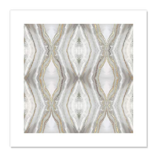 Casa Fine Arts Neutral Kaleidoscope I Gold and Silver Abstract Modern Agate Geode Wall Art Archival Print, 20