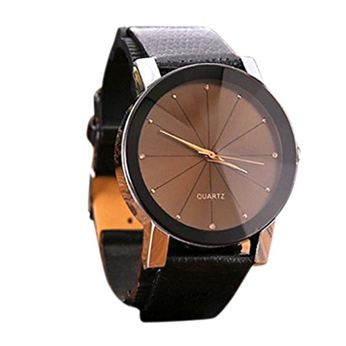 baskuwish Men Luxury Stainless Steel Quartz Military Sport Leather Band Dial Wrist Watch (Rose Gold)