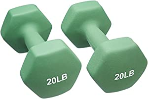 AmazonBasics Neoprene Dumbbells 20-Pound, Set of 2, Light Green