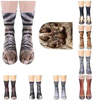 Leyeet Calzini Animali Bambini Adulti 3D Zampa Animale Gatto Piedi di Tigre Stampa Calzini Squadra Equipaggio Calzetteria Elastica