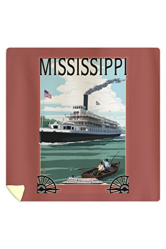 Lantern Press Mississippi - Riverboat and Rowboat 50136 (88x88 Queen Microfiber Duvet Cover) - Mississippi Queen Riverboat