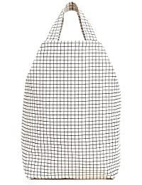 Women's Duck Bag, Grid, White, Print, One Size