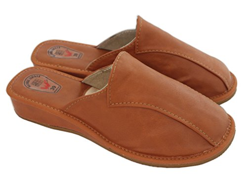 Natleat Slippers Womens Slippers Mules 33 - Zapatillas de estar por casa de Piel para mujer Negro negro Negro - Brown / 1