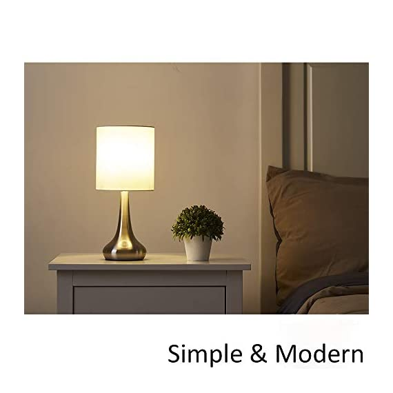 """FERWVEW Modern Small Table Lamp, Bedside Desk lamp with White Fabric Shade, Nightstand Table Lamps for Living Room Bedroom Study Room - Simple and concise style in a brush nickle lamp base with white fabric shade, the small table lamp gives off a romantic and warm atmosphere anywhere in your home decor. Wonderful gifts for the coming Thanksgiving Day to your friends, relatives or business partners. Dimension: 5.9"""" D x 13.4"""" H. Bulb: Each lamp takes AC 110V-120V, 60 Wattage Max. E26 socket, compatible with CFL, LED, Incandescent Bulbs (Bulbs Not Included). UL Listed. Comes with all mounting hardware and instruction for easy installation. - lamps, bedroom-decor, bedroom - 41sz7PgQD3L. SS570  -"""