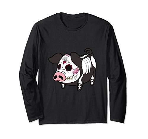 Dia De Los Muertes Pig Farmer Halloween Mexican Long Sleeve T-Shirt -