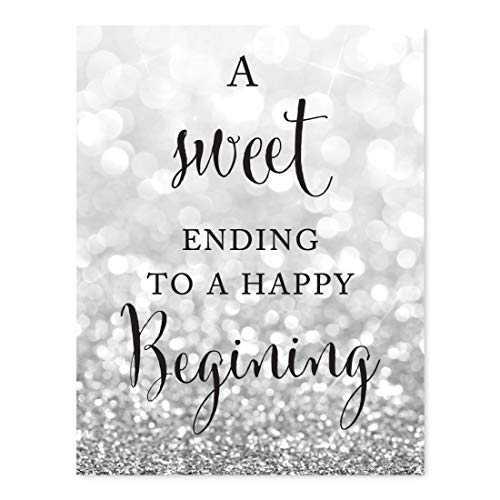 Andaz Press Wedding Party Signs, Glitzy Silver Glitter, 8.5x11-inch, A Sweet Ending to a Happy Beginning Dessert Table Sign, 1-Pack ()