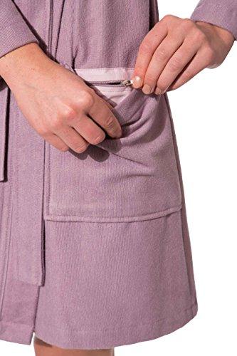 Morgenstern, Damen Bademantel mit Kapuze, 90 cm lang, Größe L, Farbe pink ( rosa dunkelrosa altrosa ) , leicht