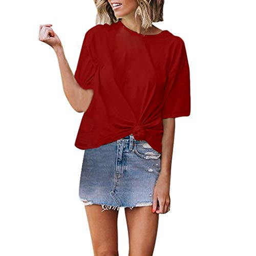 ALLYOUNG Women's T-Shirt Blouse Solid O-Neck Short Sleeves Casual Tops Shirts Summer New 2019 (Wine, XL)
