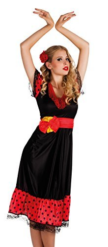 [Spanish Flamenco Ladies Fancy Dress Senorita Rumba Dancer Womens Costume Outfit (Women: 12-14) by BOLAND] (Female Flamenco Dancer Costumes)