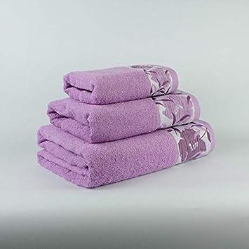 Coloquial Juego DE 3 Toallas (BAÑO, Lavabo Y TOCADOR) 100% ALGODÓN Flores Color Violeta: Amazon.es: Hogar