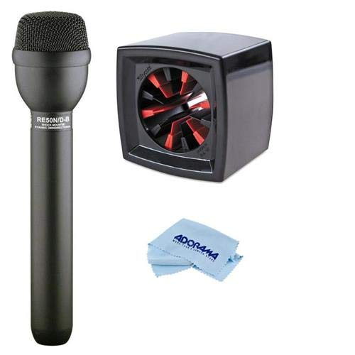 Electro-Voice RE50N/D-B Omni-Directional Handheld Dynamic N/DYM Shock Mounted ENG Microphone - With Rycote Square Mic Flag for Reporter Mics Ranging 19 to 38mm, Black, Microfiber Cloth