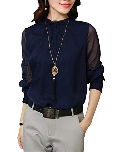 Manche Fille Blouse Longue Col Fashion Uni Tops Haut Manche Mousseline Printemps Haut Chemisier Automne Classique Manches Long Demi Bleu Elgante Dsinvolte Shirt Femme YdYnrfq1
