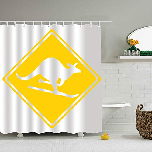 Road Kangaroo Sign (BiesMo Roadsign Kangaroo - Shower Curtain - Water, Soap, and Mildew Resistant - Machine Washable - Shower Hooks are Included)