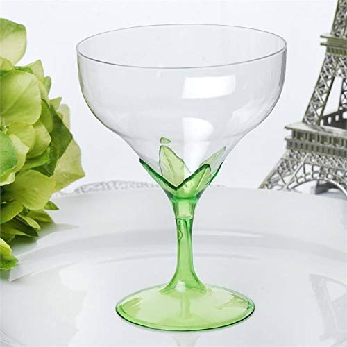 Tableclothsfactory 30 Pcs Disposable Clear Plastic Champagne Goblet-Green