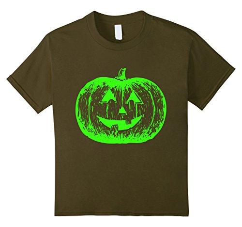 Kids Scary Halloween Pumpkin T-Shirt + Neon Green Acid Glow 12 (Really Scary Halloween Pumpkin Faces)
