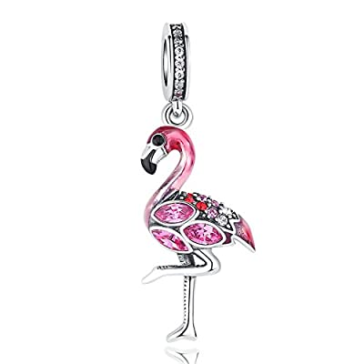 "Glamulet 925 Sterling Silver ""Elegant Flamingo"" Dangle Charm Charm Bracelets and Necklaces by Glamulet"