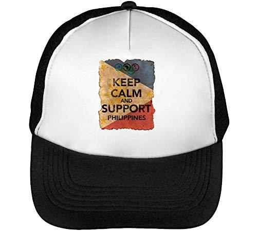 Vintage Keep Calm Support Philippines Flag Background Gorras Hombre Snapback Beisbol Negro Blanco